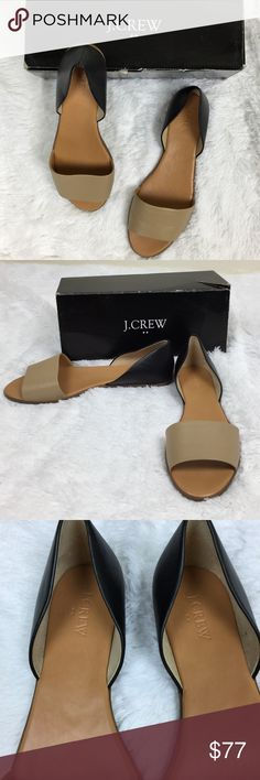 NIB J. Crew Peep Toe D'Orsay Black & Tan Flats New in box. Only worn inside. Very comfortable must decided I don't need them. Fits true to size J. Crew Shoes Flats & Loafers