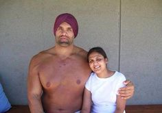 Khali with his wife