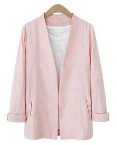 """""""Yoins Plain Pink Color Plugne Coat with Shoulder Pad"""" by lexi-kym ❤ liked on Polyvore featuring Carvela"""