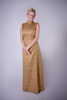 60's Metallic Brocade Sleeveless Dress with by BirchEdenVintage