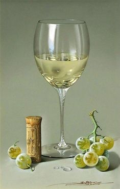 0 painting glass of white wine and grapevine - peinture verre de vin blanc et raisins Painting Still Life, Still Life Art, Art Du Vin, Photo Macro, Mode Poster, Still Life Photos, Wine Art, Spanish Artists, Realistic Paintings
