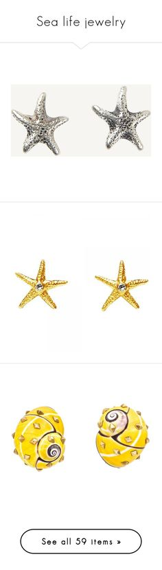 """""""Sea life jewelry"""" by domino-80 ❤ liked on Polyvore featuring jewelry, earrings, grey, fat face, grey earrings, grey jewelry, starfish stud earrings, star fish jewelry, 18k gold jewelry and gold jewelry"""