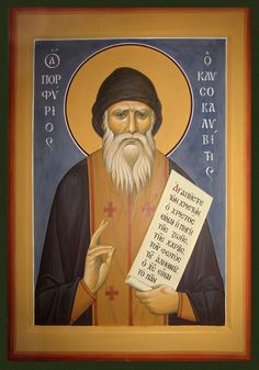 St Porphyrios (Bairaktaris) the Kapsokalyvite Orthodox Catholic, Orthodox Christianity, Byzantine Icons, Byzantine Art, Religious Paintings, Best Icons, New Saints, Orthodox Icons, Christian Art