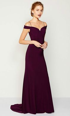 Off-the-shoulder burgundy gown