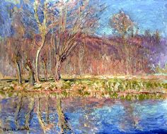 Claude Monet - Trees by the river,springtime at Giverny 1885