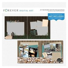 At The River Pre-designed Book 12x12  This pre-designed, photo-ready book template is fully customizable for 12 x 12 or 8 x 8 pages. Papers and elements are included.   Contains: 1 cover and 21 pre-designed pages