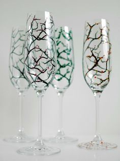 Hand Painted Champagne Flutes Glasses With Four Seasons - Winter, Spring, Summer & Autumn - Pair Of 2 by Mary Elizabeth Arts on Gourmly