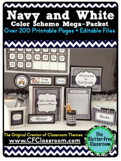 NAVY & WHITE CLASSROOM COLOR SCHEME - A collection of over 32 different all-inclusive classroom decor & essentials bundles that come in a variety of colors & patterns (including chevron / polka dots). It includes photos/images to help & inspire you to create an organized, colorful, beautiful classroom using affordable printables. :) Jodi from The Clutter-Free Classroom www.CFClassroom.com