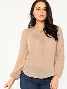 cffe48aa42 Shop Plus Button Keyhole Neck Gold Polka Dot Top online. SHEIN offers Plus  Button Keyhole Neck Gold Polka Dot Top & more to fit your fashionable needs.