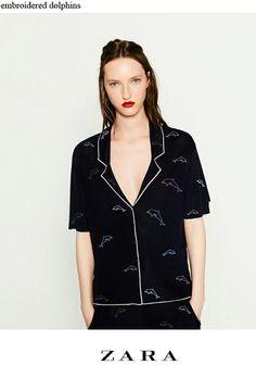 ZARA_dolphin embroidered pajama shirt