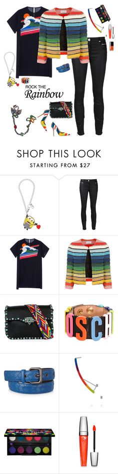 """""""I think we've found the rainbow connection!"""" by riquee ❤ liked on Polyvore featuring Tatty Devine, 3x1, Rochas, Sonia Rykiel, Dsquared2, Valentino, Moschino, Bottega Veneta, Gemma Redux and Urban Decay"""