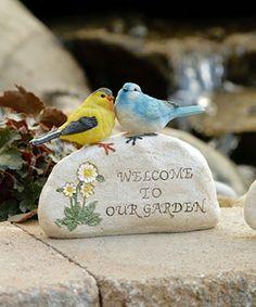 Look what I found on #zulily! Garden Stone Bird Figurine - Set of Two #zulilyfinds