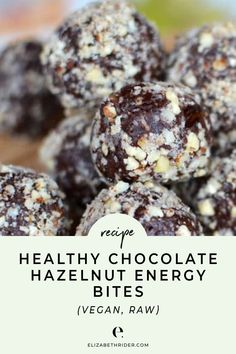 youre bored with healthy snacks try these easy addictive on-the-go energy bites. This recipe is: healthy no-cook anti-inflammatory gluten-free dairy-free soy-free vegan simple to prepare refined sugar free high in fiber raw and delicious. Protein Snacks, Healthy Vegan Snacks, Healthy Recipes, Healthy Breakfasts, High Protein, Eating Healthy, Chocolate Hazelnut, Healthy Chocolate, Dairy Free