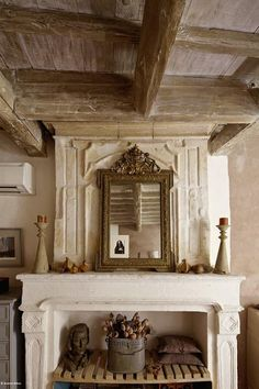 wooden beams in french farmhouse