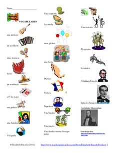 Celebrate el 5 de mayo in your Spanish classes and teach your students about Mexican culture. This document contains 25 related vocabulary words and images, a student fill-in note sheet with just the images, a wordsearch and word scramble to practice vocabulary, an online reading and 12 comprehension questions in English, 12 bulletin board images that you can lamenate and cut out, and a food sign up sheet in case you decide to have a fiesta! Feliz 5 de mayo!