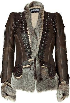 CAVALLI Chocolate Boho Leather and Fur Combo Jacket
