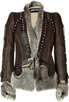 JUST CAVALLI   Chocolate Boho Leather and Fur Combo Jacket