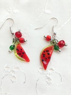 Watermelon Slice Red Green Lampwork Glass Dangle by doodaba Red Earrings, Glass Earrings, Watermelon Slices, Art Deco Necklace, Art Deco Wedding, Red Rhinestone, Unique Necklaces, Crystal Beads, Red Green
