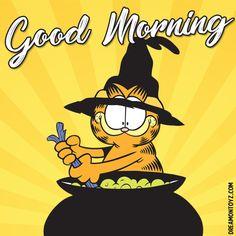 Good Morning - Witch cartoon character Garfield the Cat stirring cauldron #Halloween Good Morning Smiley, Cute Good Morning, Good Morning Picture, Morning Pictures, Good Morning Quotes, Cartoon Pics, Cartoon Characters, Funny Animal Videos, Funny Animals