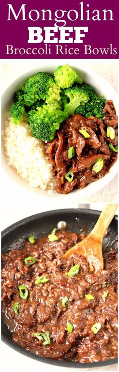 Quick Mongolian Beef Rice Bowls Recipe - easy restaurant takeout copycat dish that takes only 20 minutes to make! Full of flavor beef in sauce, served with rice and steamed broccoli.
