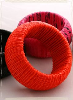 Cool and Creative Ways To Reuse Plastic Bags (45) 7 - Thrift store bangles wrapped with colored plastic bag yarn