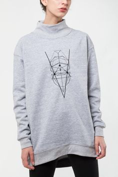 Inspired by Sacred Geometry, the symbolic language that is created from the relationship between mathematics and nature. Unisex sweatshirt, relaxed fit funnel neck sweatshirt with ribbed finishes .   Sacred Geometry Sweatshirt by Mexicana. Clothing - Sweaters - Crew & Scoop Neck Mexico City, Mexico
