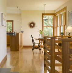 Cream is also a beautiful choice, but be careful not to confuse cream with yellow. Yellow is not a good choice for wood trim, in my opinion. If you have amber-toned wood trim, like Douglas fir or pine, try Gentle Cream OC-96 by Benjamin Moore or Glow W-B-310 by Behr