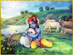 "☀ GOPAL KRISHNA ☀ Artist: Vasudeva Krishna das http://careforcows.org/ Shri Krishna said: ""As the Supreme Lord I am the basis of the living entity, of the modes of nature and of the mahat-tattva. Thus..."