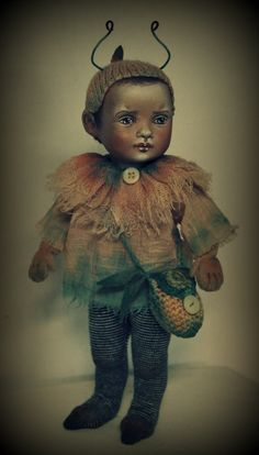 "Elfboy by Susie McMahon. Completed. He is just 8"" tall, jointed and OOAK"