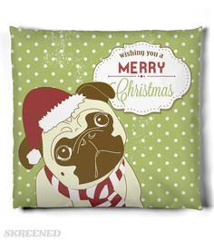 KRW Cute Pug Merry Christmas Pillow | What a wonderful, whimsical decoration for your home! Celebrate in style with this adorable pug pillow #Skreened