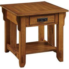 Coaster Traditional End Table, Oak Finish, Brown