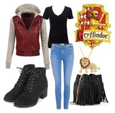 """Griffindor casual"" by barbara-sprague on Polyvore featuring LE3NO, Topshop, Whistles, Animal Planet and Paige Denim"