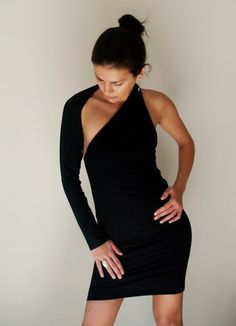 One shoulder mini black dress.