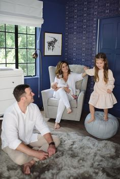Tiffani Thiessen and family in their new blue Star Wars themed nursery