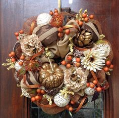Burlap and Copper Mesh Fall Wreath by HertasWreaths on Etsy, $155.00