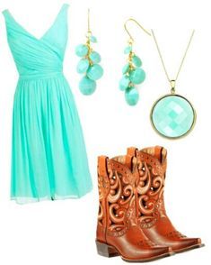 Country Clothes #CountryLife #Cowboyboots #TurquoiseDress