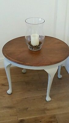 Shabby chic painted vintage side coffee table slightly distressed cream chalk