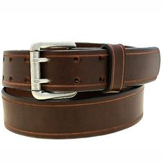 1 1/2 Harness Sunset Brown Leather Belt With Double Hole Saddle Groove