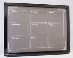 "Black ""Chalkboard"" Weekly Framed Dry Erase Wall Calendar by Tailor Made Whiteboards - available on #Etsy and #AmazonHandmade"