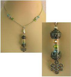 Silver Celtic Knot Glass Vial Pendant Necklace
