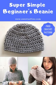 Super Simple Beginners Beanie 2019 Free hat crochet pattern super simple and easy to do perfect as a beginner crochet project. diy handmade yarn craft fiber art tutorial The post Super Simple Beginners Beanie 2019 appeared first on Yarn ideas. Crochet Hat For Beginners, Beginner Crochet Projects, Crochet Hat For Women, Crochet Baby Hats, Free Crochet, Beginner Crochet Tutorial, Crochet Hat Tutorial, Crochet Unique, Crochet Simple