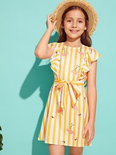Girls Ruffle Armhole Striped Flamingo Print Belted Dress - Source by pbiaye - Girls Dresses Online, Dresses Kids Girl, Cute Girl Outfits, Cute Dresses, Kids Outfits, Girls Fashion Clothes, Kids Fashion, Clothes For Women, Baby Girl Dress Patterns