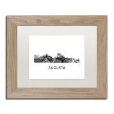 Marlene Watson 'Augusta Georgia Skyline WB-BW' Matted Framed Art