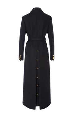 Rendered in virgin wool, this **Red Valentino** coat features a notch collar, gold double breasted buttons at the bodice, slip front pockets, full length sleeves, a self-tie belt at the waist, and an ankle length.