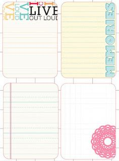 Project Life cards freebie