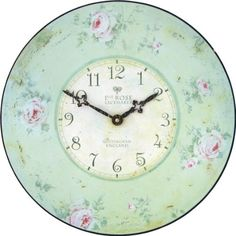 Fleur De Lis Living A Nottingham Lacemaker's Rose design on our wall clock. Nottingham, Blue Flowers Bouquet, Shabby Chic Clock, Wall Clock With Temperature, Ribbon Wall, London Clock, Nostalgia, Pendulum Clock, Wall Clock Online