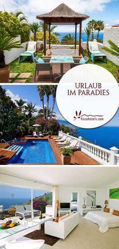 """Nicht umsonst heißt das wunderschöne 4-Sterne Hotel Jardin de la Paz auf der kanarischen Insel Teneriffa zu deutsch """"Garten des Friedens"""". In ruhiger Alleinlage befindet sich das luxuriöse Hotel auf einer Anhöhe an der Steilküste im Norden der Insel in La Matanza. Eingebettet in einen herrlichen, 4000 m2 großen Garten, bietet dieses einzigartige Urlaubsdomizil 13 elegante Unterkünfte mit jeglichem Komfort sowie Wellness in Form einer Sauna, zwei Swimmingpools und unschlagbarem Panoramablick."""