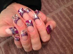 Nail art, purple with confetti