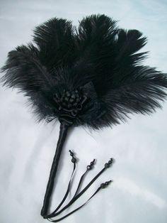 black feather hand fan