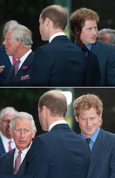 Prince Charles, Prince William and Prince Harry. A pic is worth a thousand words.